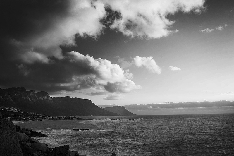 Cape Town Sunset in Black and White